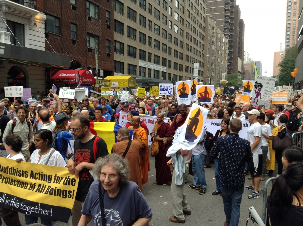 The Buddhist contingent at the People's Climate March in New York City, September 21, 2014. Photo by the author.