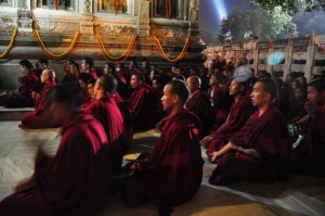 Tibetan Monks at the Bodhi Tree, Bodh Gaya, India