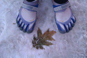 Snow run in Vibrams, Denver, CO