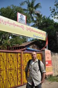 Justin Whitaker at Burma's NLD Headquarters, Yangon (Rangoon)