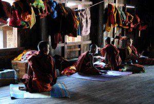 Burmese Buddhist monks studying near Inle Lake