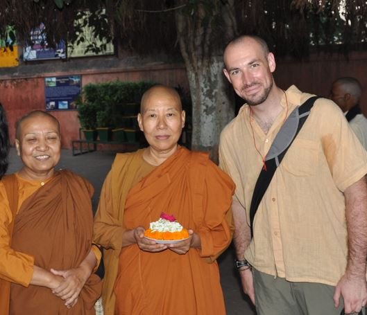 ven molini and ven dhamma vijaya with the author in bodh gaya 2010