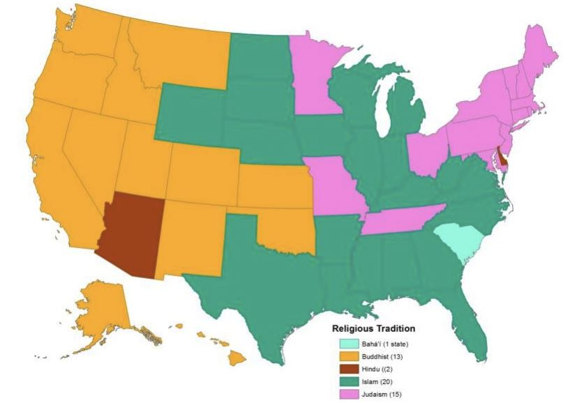 Largest non-Christian Religions in America by State