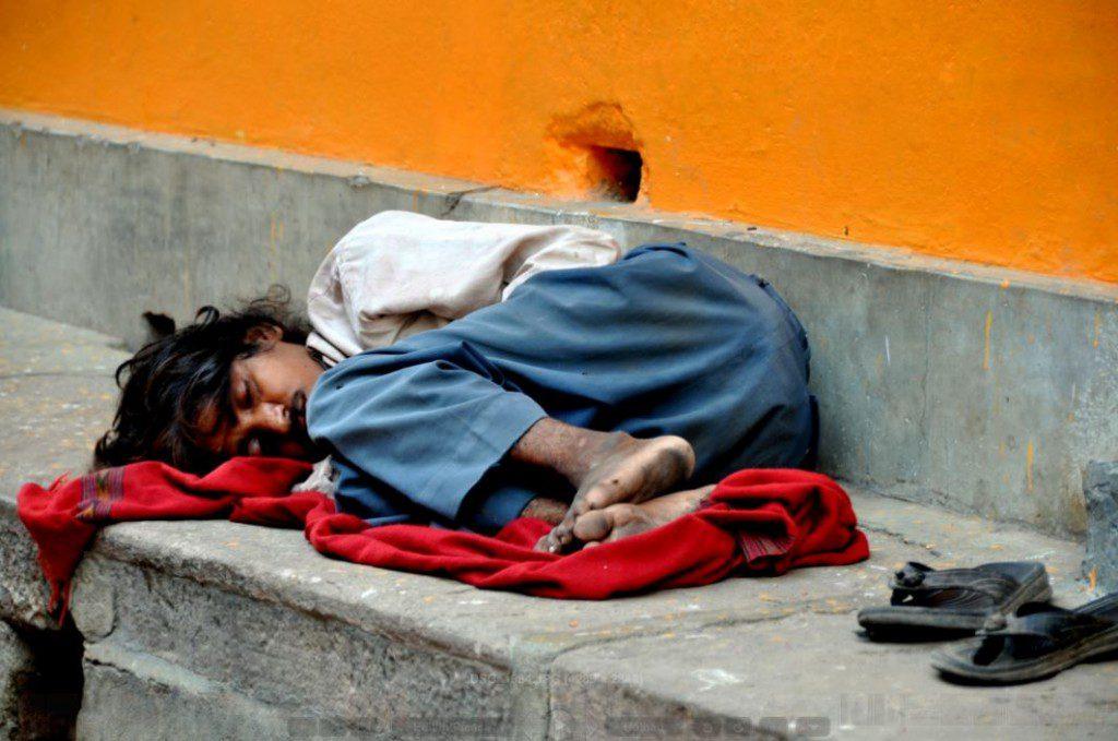 Homeless man sleeping, Varanasi, 2010