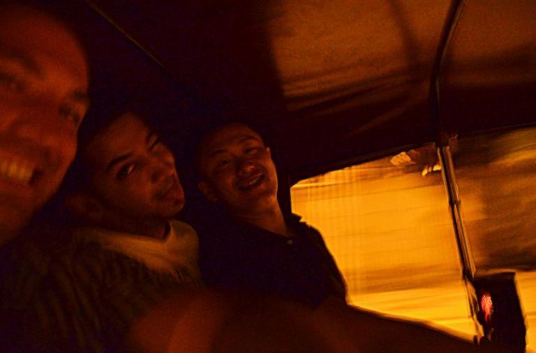 Auto-rickshaw in Delhi (with myself, Deepak, and Maneo).