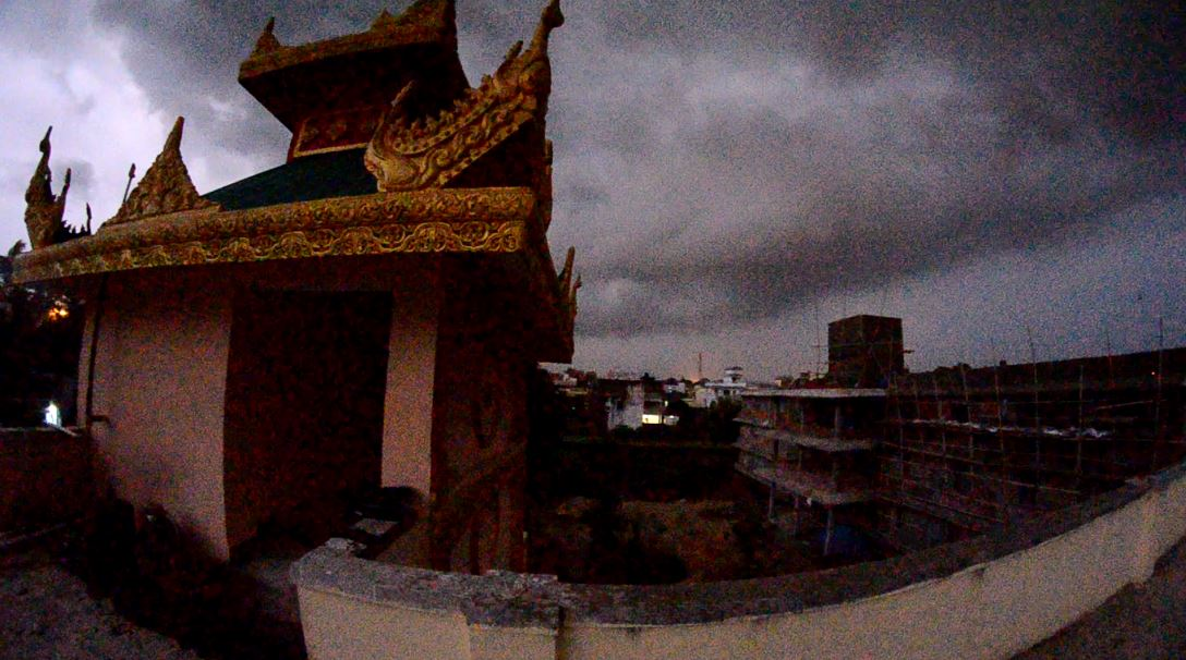 A screenshot from a video during a stormy evening in Bodhgaya