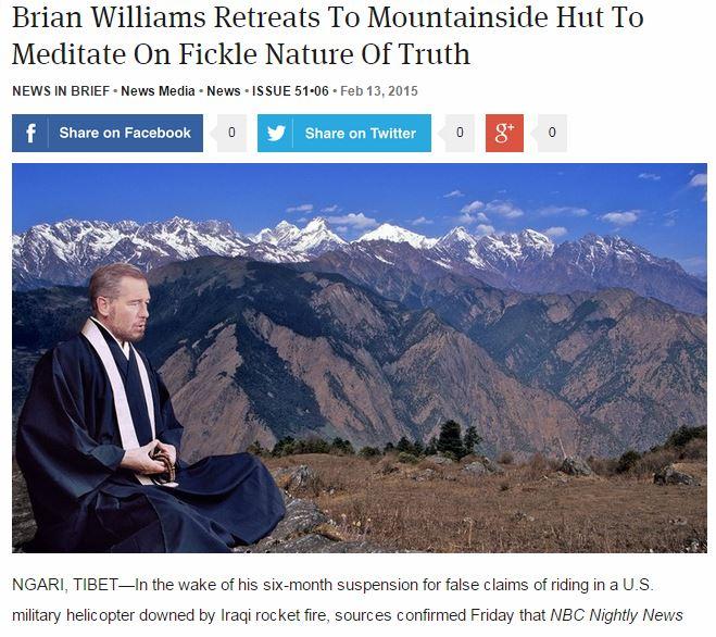 Brian Williams in Tibet via the onion