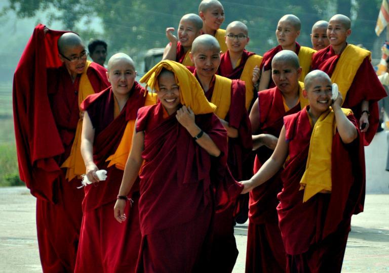 Tibetan Nuns await the arrival of the 17th Karmapa at Tergar Monastery in Bodhgaya India (2010)