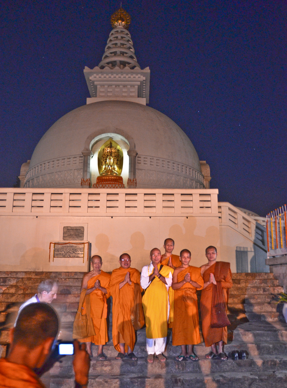 Monks chanting at The Rajgir Vishwa Shanti Stupa/World Peace Pagoda, Bihar India (2014)