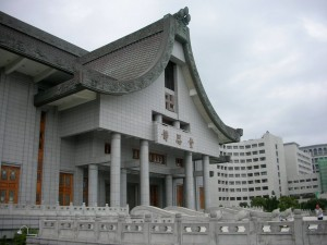 Tzu-Chis-headquarters-in-Hualian-Taiwan-The-main-temple-is-in-the-foreground-while-the-hospital-is-seen-in-the-background.
