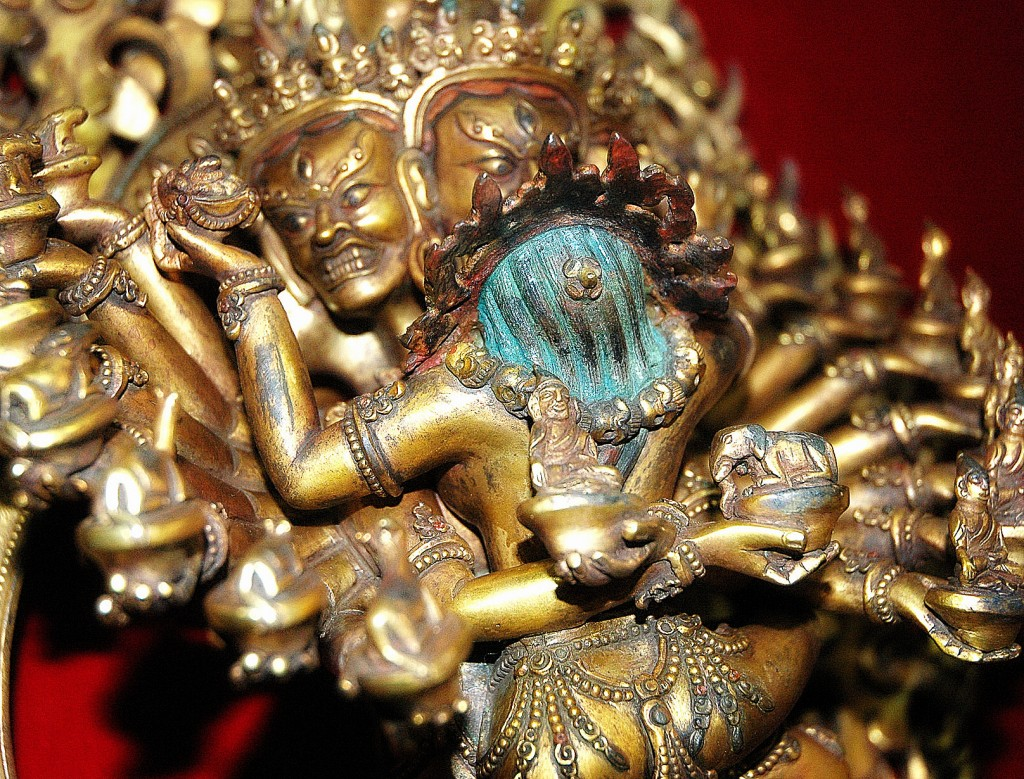 Hevajra and Nairãtmyã Buddhist Tantric deities, closeup top, Boudha, Kathmandu, Nepal (adapted from photo by Flickr user Wonderlane)