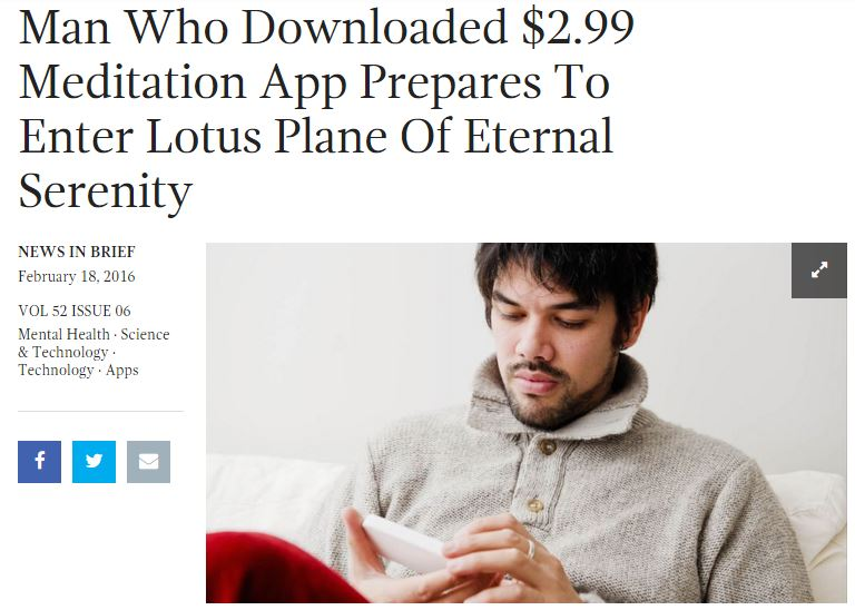 Onion article on meditation app