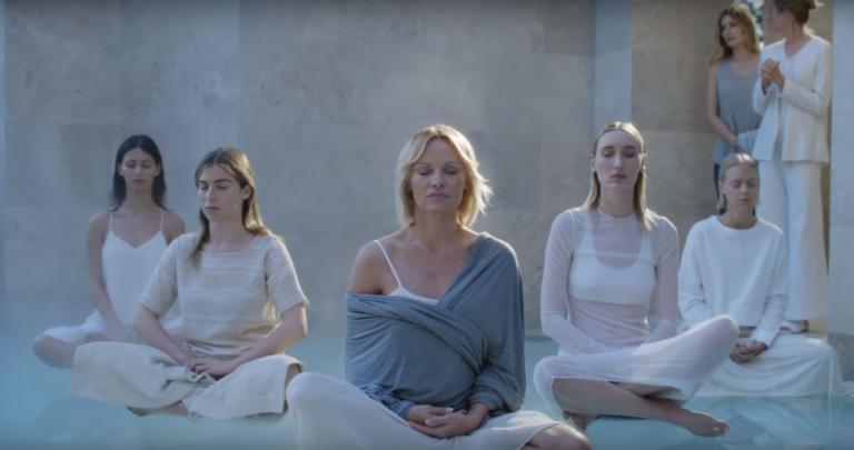 connected pamela anderson at retreat meditating