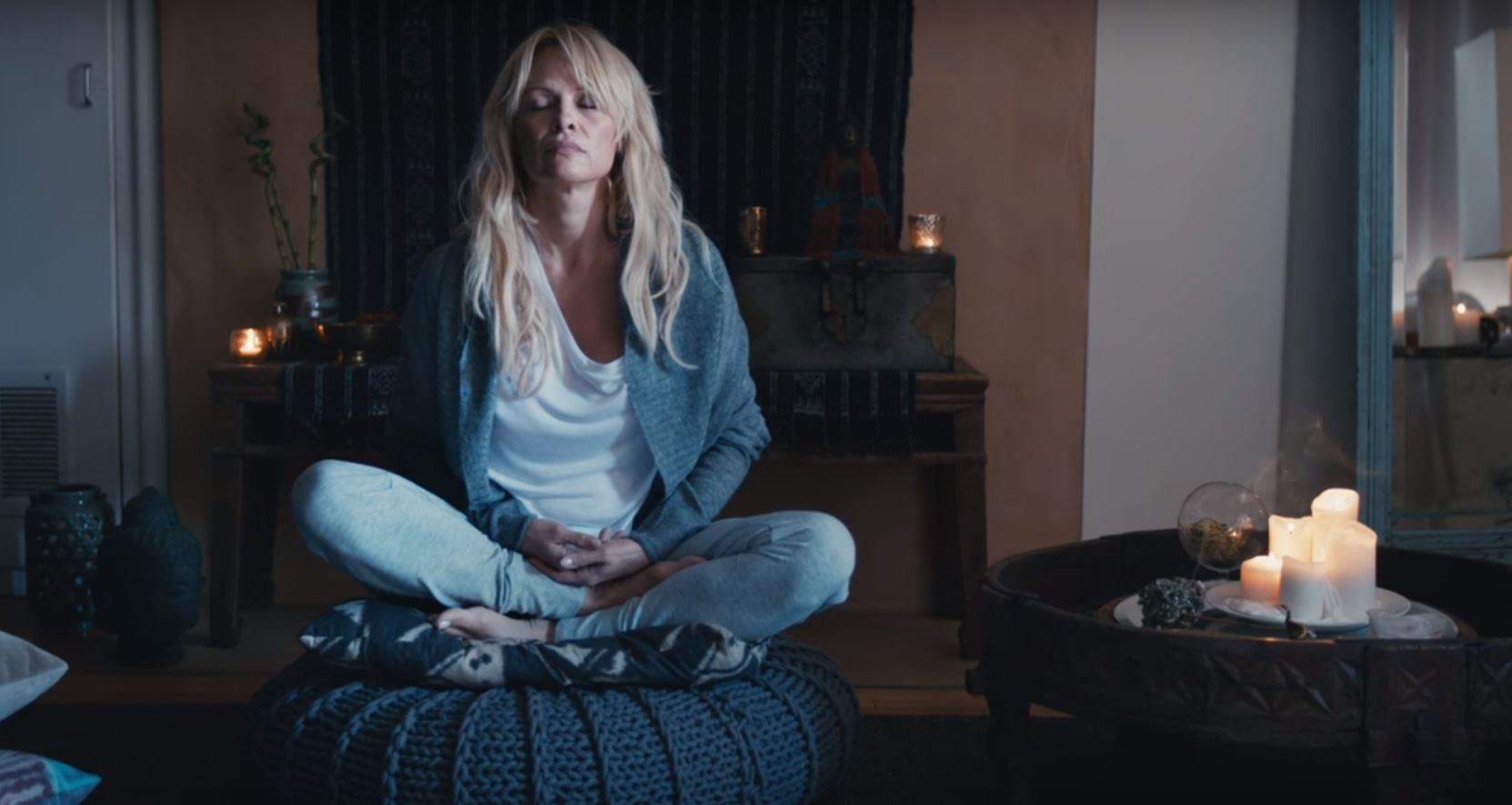 connected pamela anderson meditating