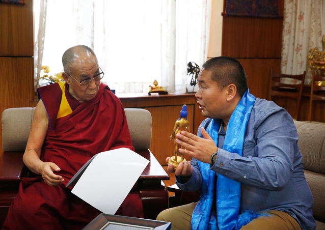 His Holiness the Dalai Lama and M.BATAA, Project Board of Trustee member and former Tibetan Buddhist monk