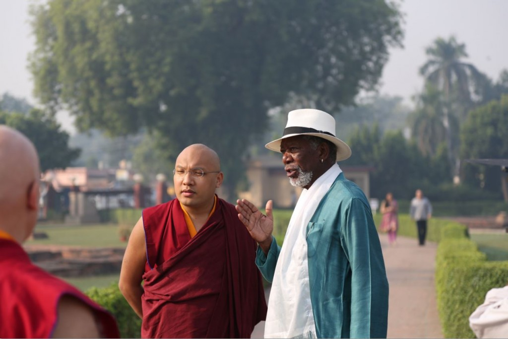 Morgan Freeman and the Karmapa (courtesy National Geographic, see the trailer here)