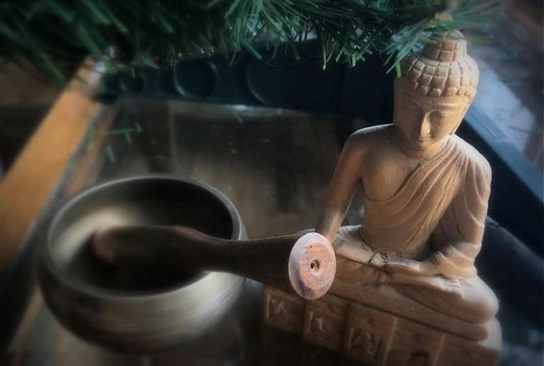 buddha under xmas tree