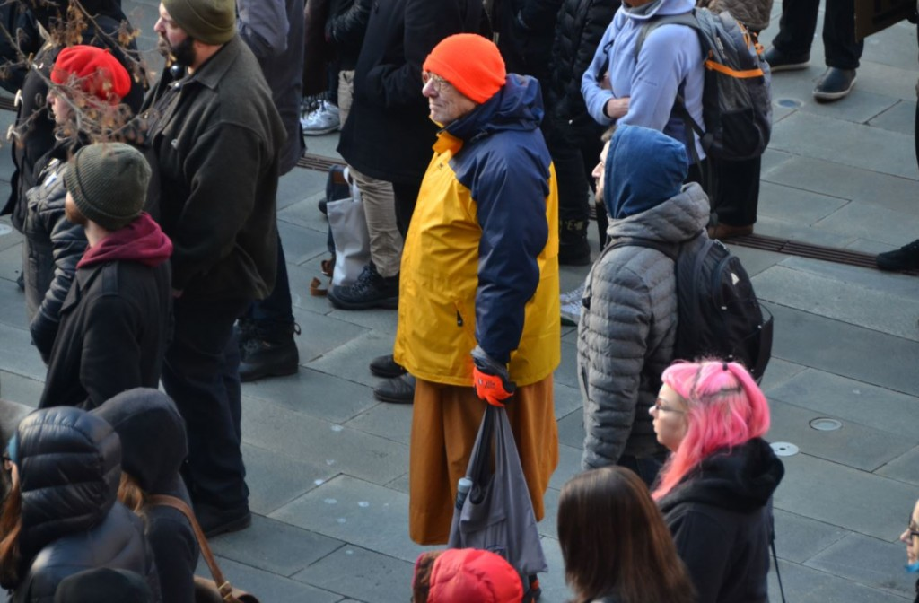 lone theravadin monk Seattle defundDAPL rally