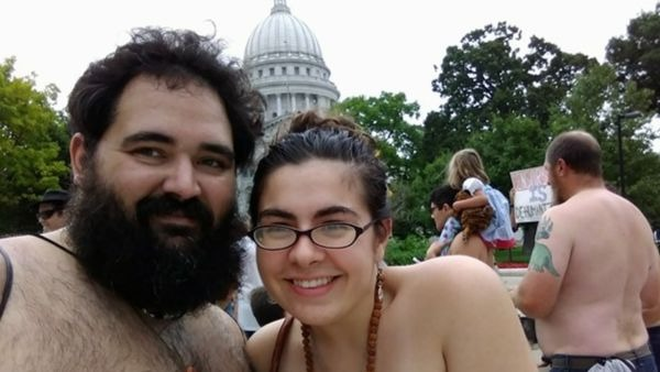 Bryan and I at Go Topless Day 2017, Madison, WI