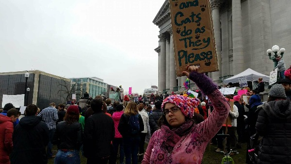"""Ashleigh """"FoxBat"""" Smiley at the 2017 Women's March, Madison, WI"""