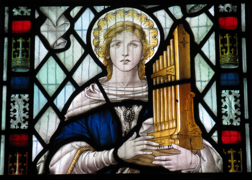 (Saint Cecilia in St Mary The Virgin in Little Wymondley cc Wikimedia Commons)