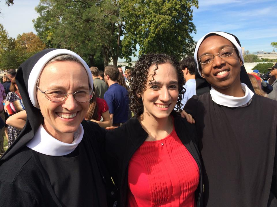 Met Benedictines Sister Gertrude and Sister Scholastica on the Capitol lawn, and we all got verklempt about the Pope's speech together