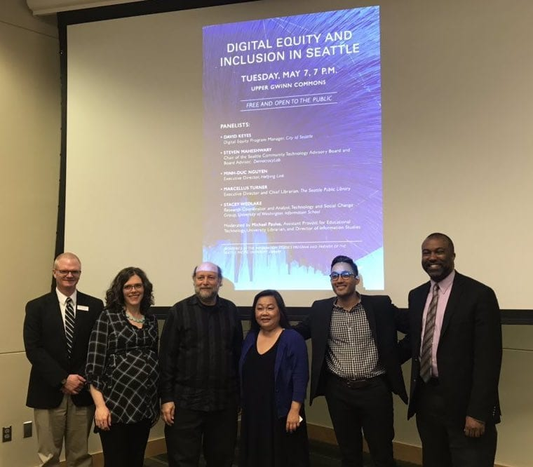 Digital Equity and Inclusion Panel hosted by the SPU Library Information Studies program on May 7, 2019.