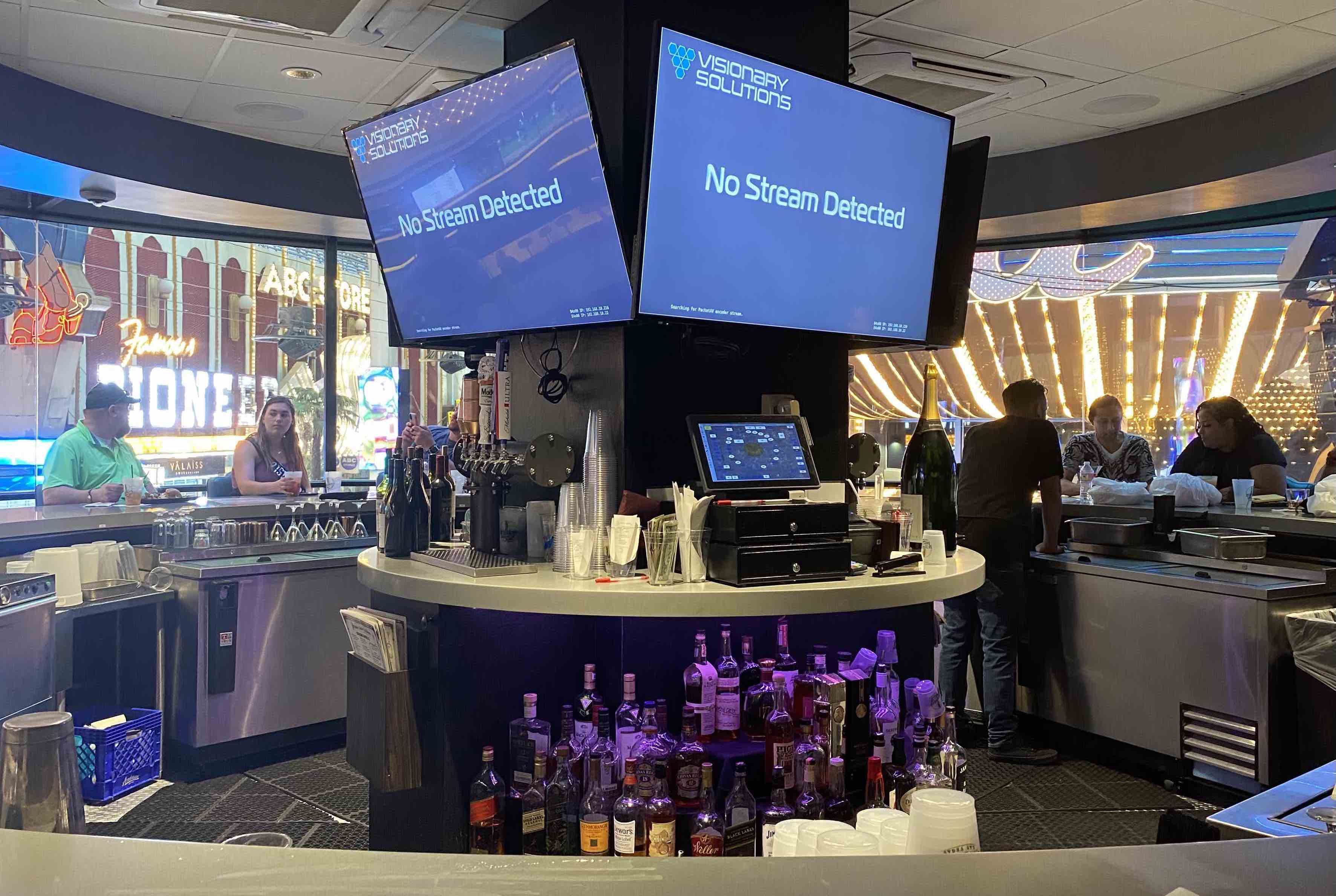 Rotating bar overlooking the Fremont Street Experience in downtown Las Vegas (2021)