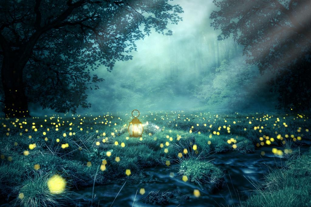 a glade at night with fireflies thick ont he ground and a lantern in the center