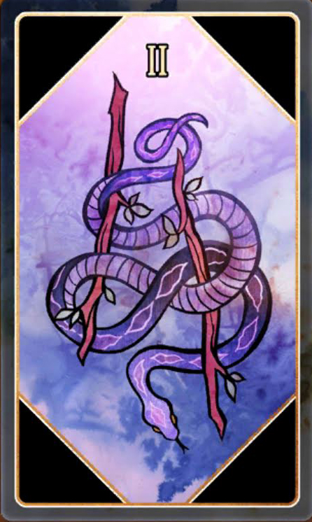 a purple snake wrapped around two branches