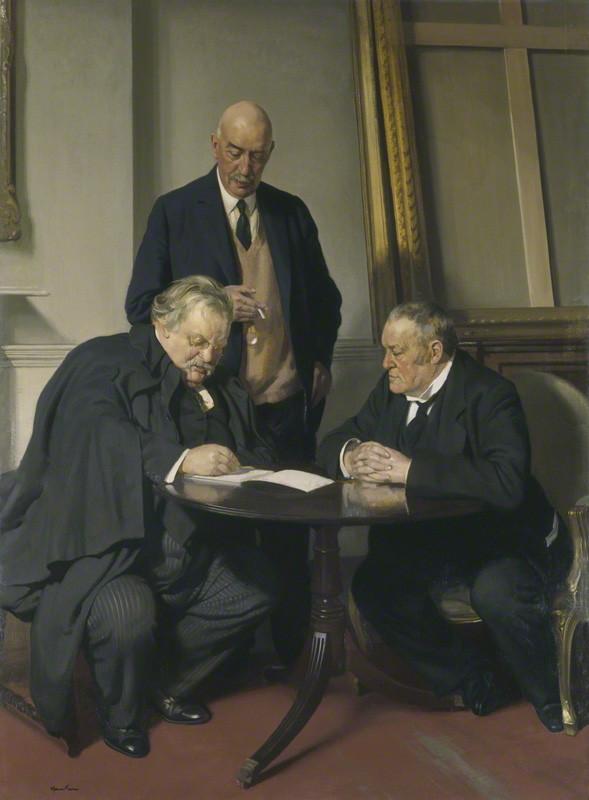 NPG 3654; Conversation piece (G.K. Chesterton; Maurice Baring; Hilaire Belloc) by Sir James Gunn