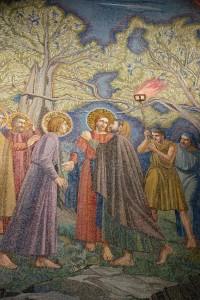 Judas betrays Jesus in the Garden of Gethsemane