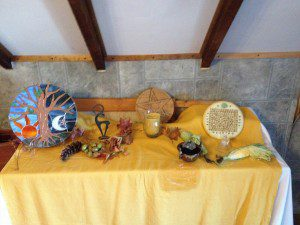 Earth altar, Ostara, coven ritual (photo by Maggie Beaumont)
