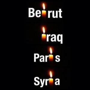 Candles burning for Beirut, Iraq, Paris, Syria