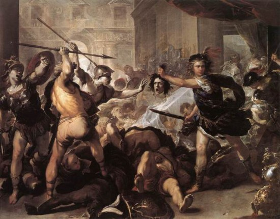"""Perseus Fighting Phineus and his Companions"", Luca Giordano (1670). Source: Wikimedia."