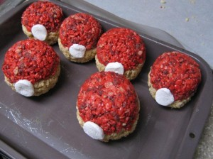 Poké Ball Rice Crispy treats Allison Ehrman made for her sons' 8th and 10th birthday parties.