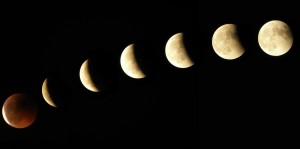 image of the phases of the moon against a black background