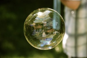 soapbubble with image of woman inside