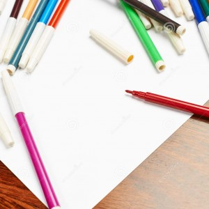 blank-sheet-paper-covered-markers-copyspace-white-multiple-colorful-felt-pen-46373518