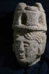 The head of a Brigantia devotional statue found at an Arbeia Roman fort in South Shields at the easternmost end of Hadrian's Wall.