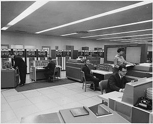 NASA computer room with dual IBM 7090 mainframes, 1962