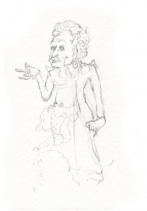 Sketch of Agni by author from a 19th Century Balinese painting.