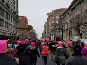 Walking to the National Mall for the Women's March  with members and friends of Unitarian Universalist Fellowship of Harford County,  many of whom were wearing hats crocheted by Allison.  Photo by Allison Ehrman
