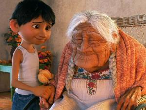 """Miguel and his great grandmother in the Pixar movie """"Coco"""""""