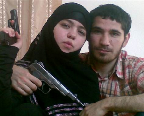 Undated and unlocated photo shows alleged 17-year-old suicide bomber Dzhennet Abdurakhmanova posing with her husband Umalat Magomedov. Russian forces reportedly killed Magomedov in 2009.