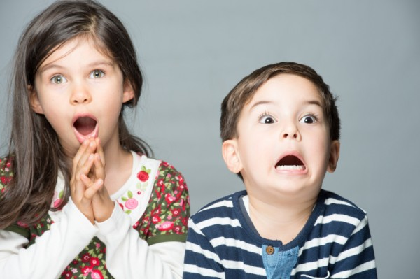 Terrified and surprised two little children