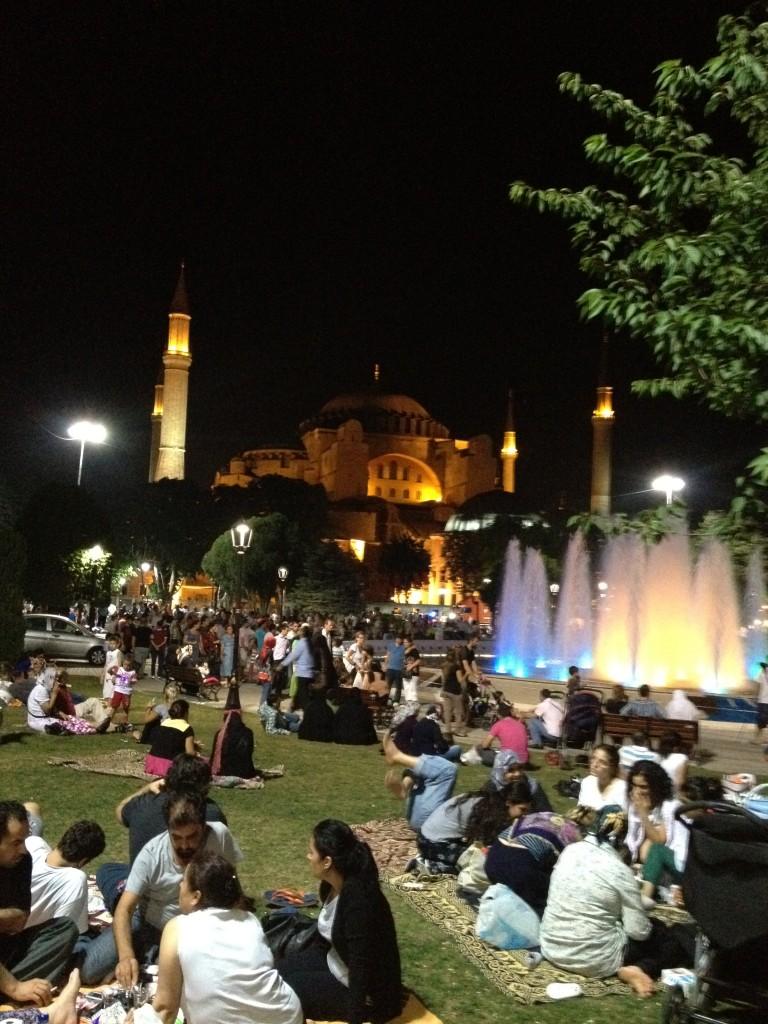 Iftar picnics outside the Hagia Sophia
