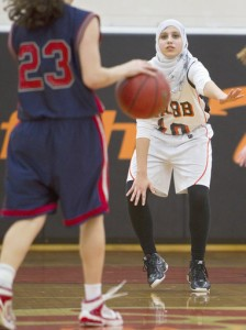Basketball player Yasmeen Amer (pic via Kaitlin McKeown, Daily Press / February 2, 2012).