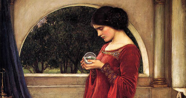 """""""The Crystal Ball"""" by John William Waterhouse. From WikiMedia."""