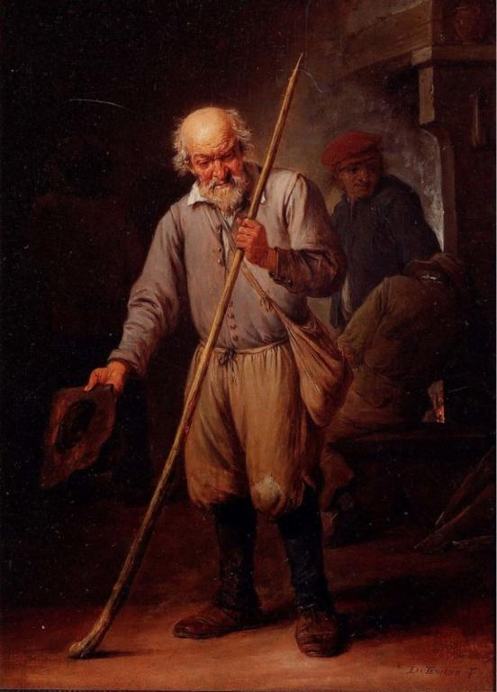 """Old Man with a Walking Stick"" by Davied Teniers the Younger, via Wikimedia Commons"
